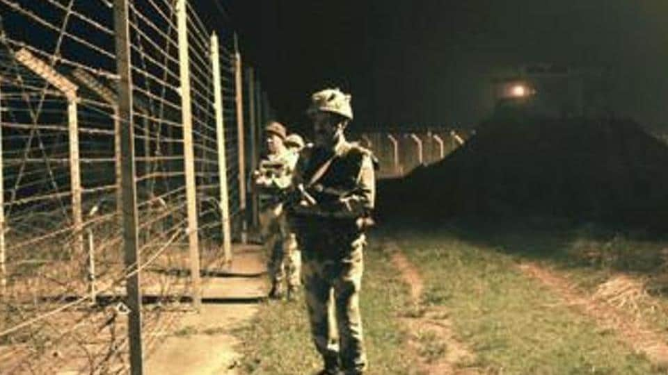 Border Security Force patrolling the India-Pakistan International Border at the outpost of Akhnoor sector.