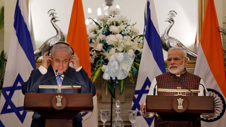 PM Narendra Modi and Israeli Prime Minister Benjamin Netanyahu issue a joint statement at Hyderabad House in New Delhi.