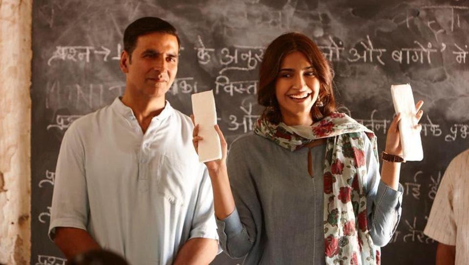 Akshay Kumar and Sonam Kapoor in a still from Hu Ba Hu, a song from PadMan.