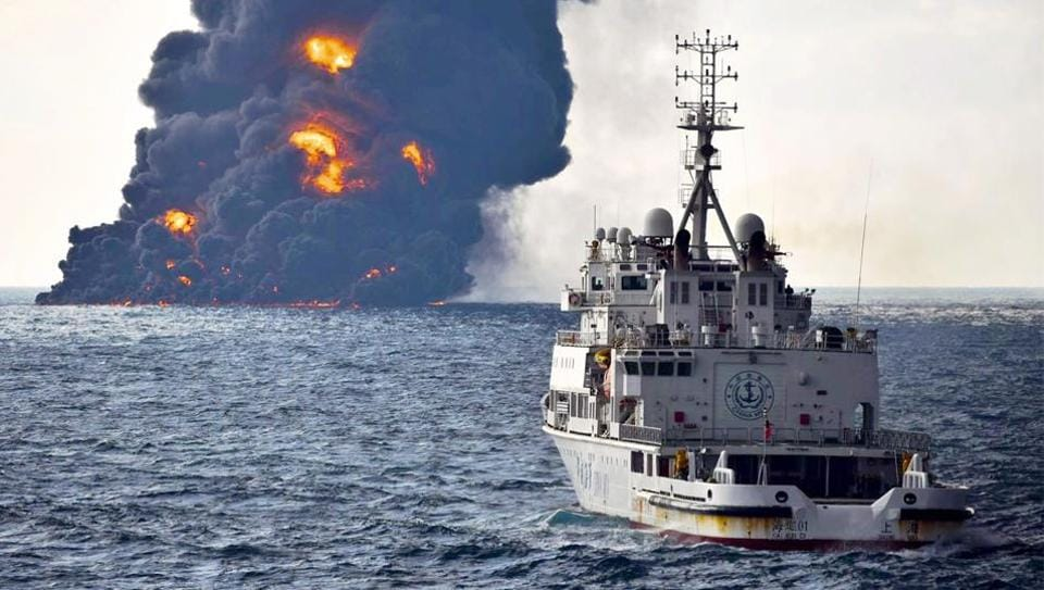 Ministry of Transport a rescue ship sails near the burning Iranian oil tanker Sanchi in the East China Sea off the eastern coast of China