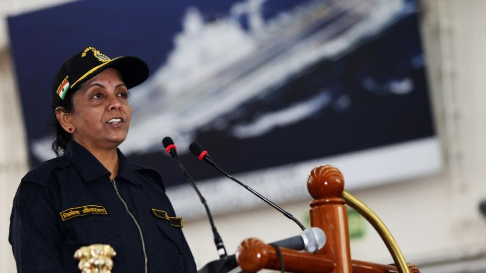 Defence minister Nirmala Sitharaman addresses the Western Fleet on board INS Vikramaditya during the operational manoeuvres of the Western Fleet ships, conducted by the Indian Navy.