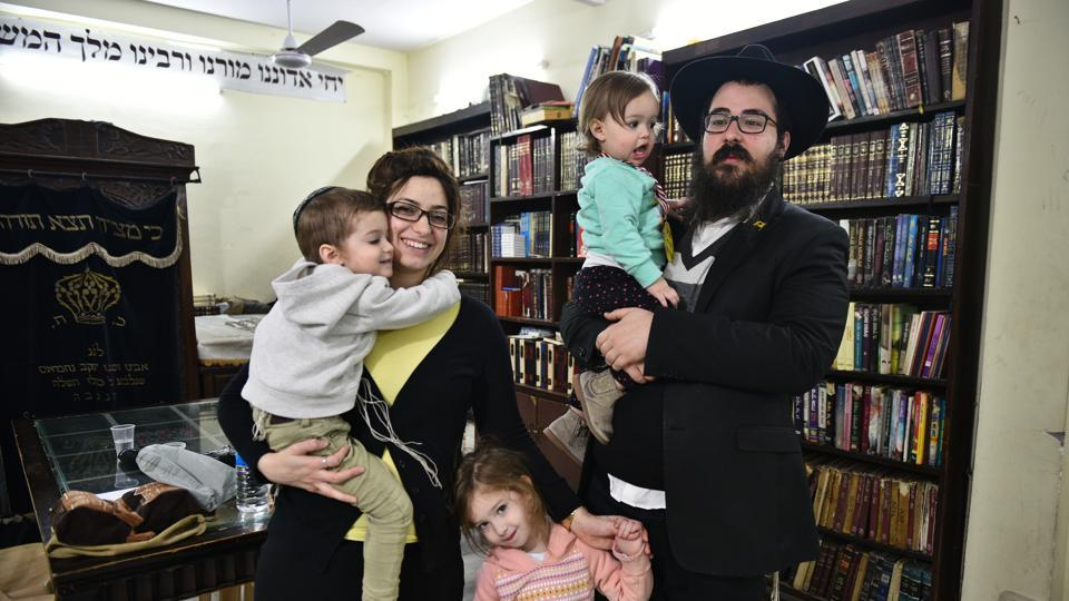 Akiva Soundry, the Rabbi at the Chabad House in Paharganj, with his wife, Chaya, and three children.  As the Rabbi of the Chabad House, he and his wife host programmes, activities and religious services for the Israeli tourists and business travellers visiting the Capital.