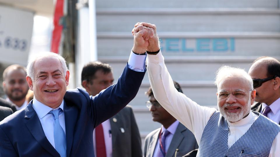 Prime Minister Narendra Modi welcomes Israeli Prime Minister Benjamin Netanyahu, Air Force Palam airport, Delhi, January 14, 2018