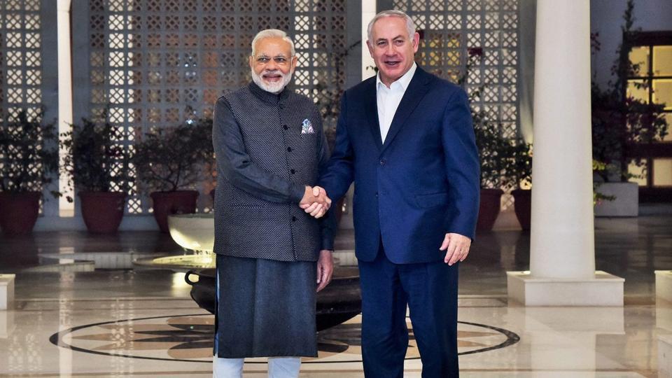 Prime Minister Narendra Modi receives his Israeli counterpart Benjamin Netanyahu ,in New Delhi on Sunday.
