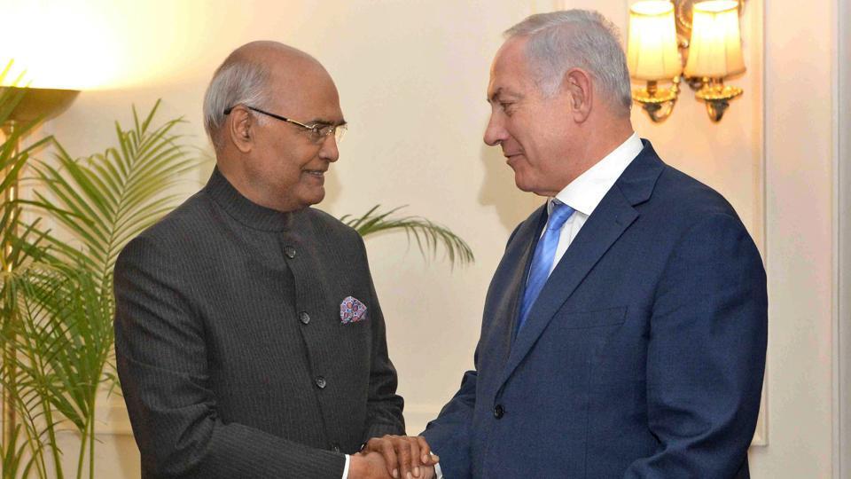 Prime Minister of Israel Benjamin Netanyahu calls on President Ram Nath Kovind at Rashtrapati Bhavan in New Delhi on Monday.