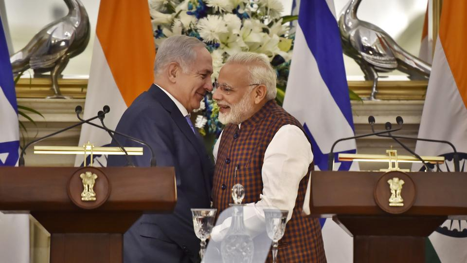 Prime Minister Narendra Modi and Israeli Prime Minister Benjamin Netanyahu addressing a joint statement after a meeting at Hyderabad House in New Delhi on January 15