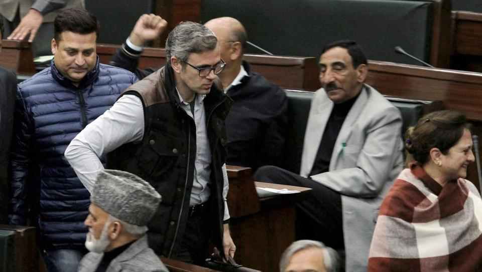 Jammu & Kashmir National Conference Working President Omar Abdullah with party MLAs inside the legislative assembly during the ongoing budget session, in Jammu on Monday.