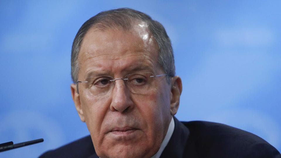 Russian foreign minister Sergei Lavrov attends his annual news conference in Moscow, Russia, on Monday.