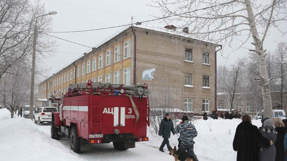 Unknown men attack school in Russia's Perm