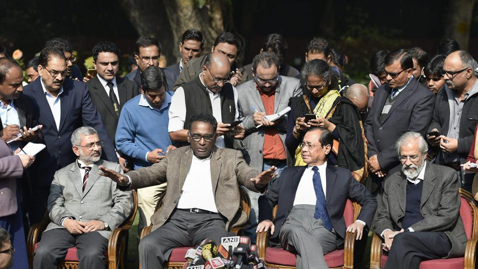 Supreme Court Judges Kurian Joseph, J Chelameswar, Ranjan Gogoi and Madan Lokur (L-R) address media in New Delhi.