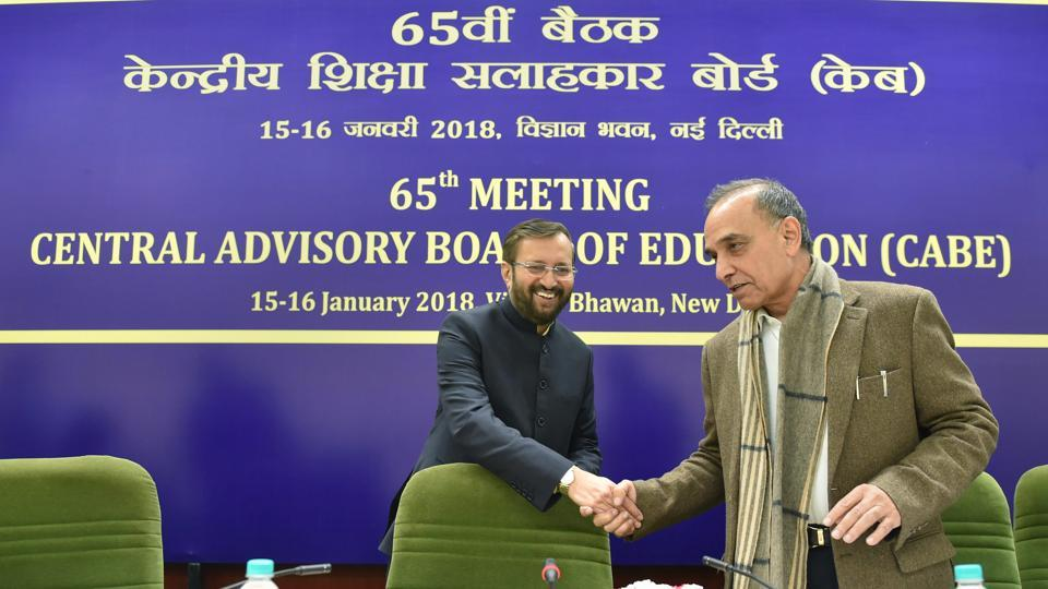 Union HRD Minister Prakash Javadekar during the second day of 65th meeting of Central Advisory Board of Education (CABE) at Vigyan Bhavan in New Delhi on Tuesday.