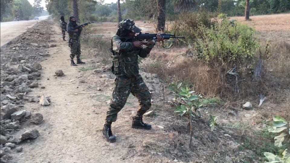 Women commandos of Chhattisgarh Police carry out a drill as a road opening party in the Maoist stronghold of Sukma.