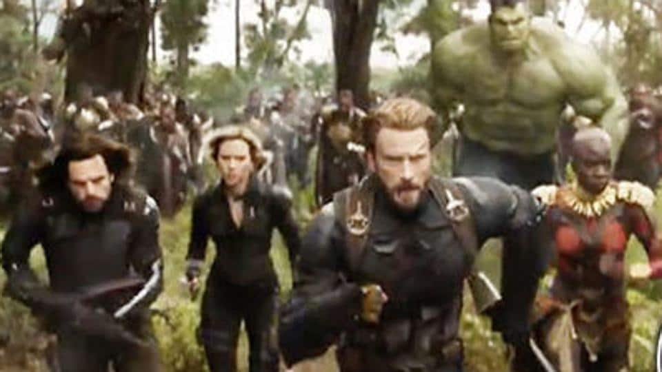 Team Cap charges ahead in Avengers: Infinity War battle scene.
