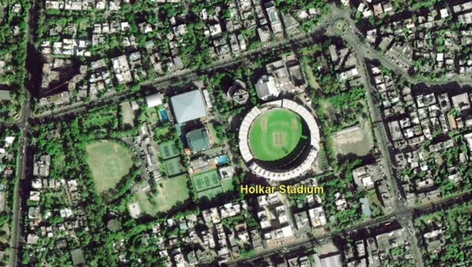 The image shows a part of Indore with the Holkar Cricket Stadium in the centre.
