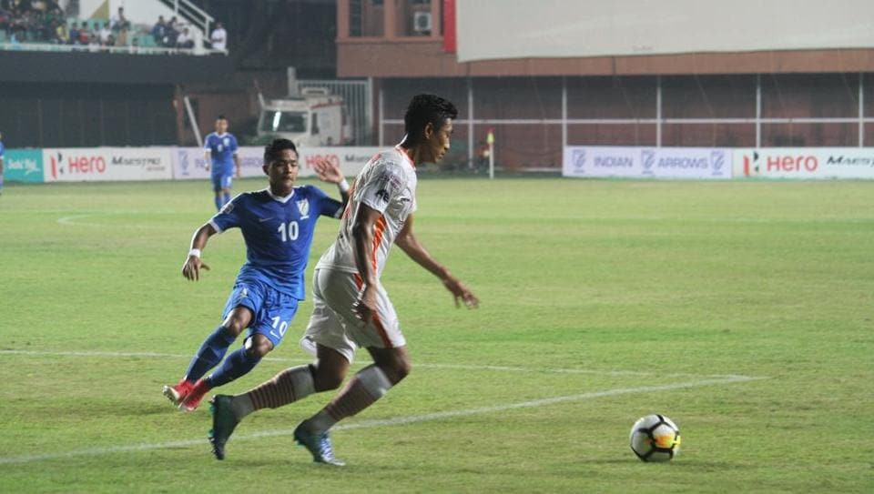 NEROCA FC defeated Indian Arrows 2-0 in the I-League on Tuesday.