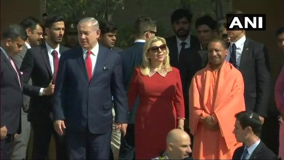Israeli Prime Minister Benjamin Netanyahu along with his wife Sara in Agra.