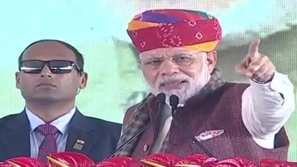 Drought always follows Cong, they're 'twin brothers': Modi in Rajasthan