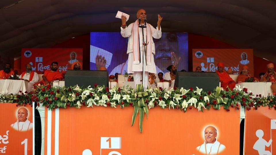 VHP international working president Pravin Togadia addressing a Virat Hindu Sammelan in Ahmedabad in Gujarat on March 26, 2017.