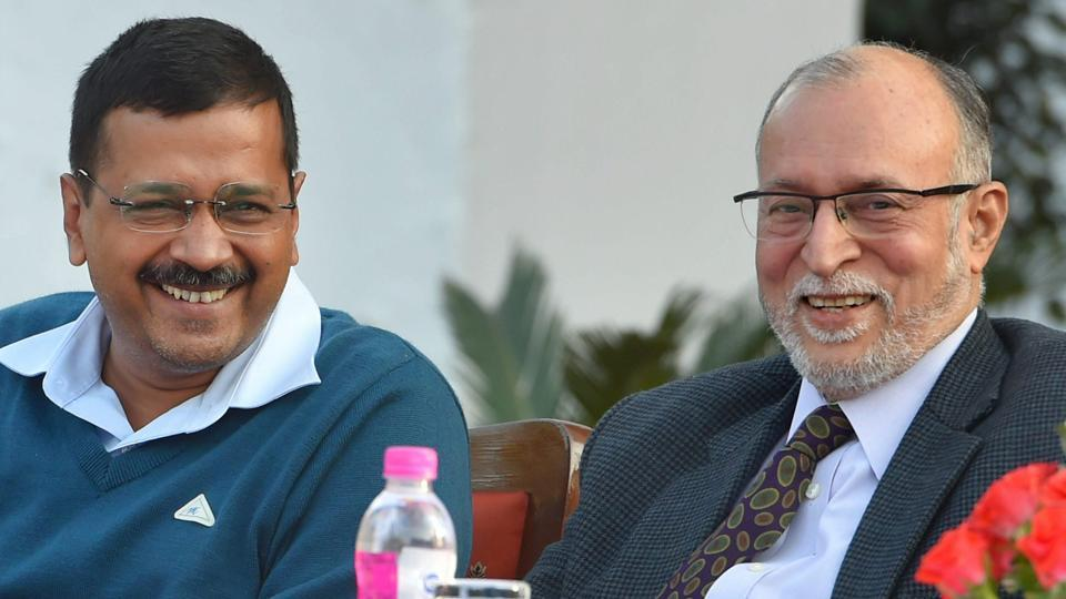 Delhi Lt Governor Anil Baijal with chief minister Arvind Kejriwal at an event