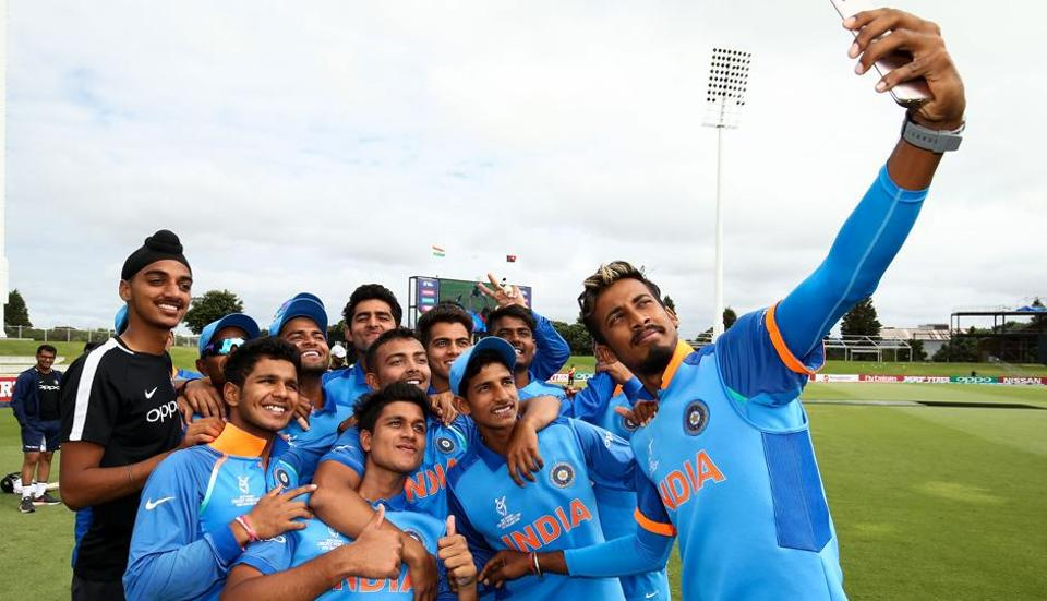 Indian Under-19 cricket team skipper Prithvi Shaw (centre) and teammates take a team selfie after winning the ICC U-19 Cricket World Cup match against Papua New Guinea at Bay Oval in Mount Maunaganui, New Zealand, on Tuesday.