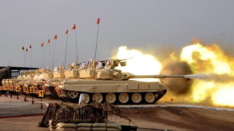 The ear-deafening thunder of tanks and infantry combat vehicles (ICVs), unleashed lethal and accurate fire power at the KK Ranges near Ahmednagar. Fire power, manoeuvre exercises and displays of equipment were held here on the occasion of Army day. (HT Photo)