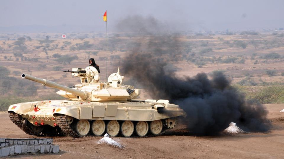 Army tank in action during the fire drill at KK ranges, Ahmednagar. (HT PHOTO)