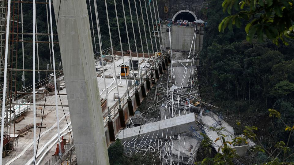 10 workers die as under construction bridge collapses in Colombia