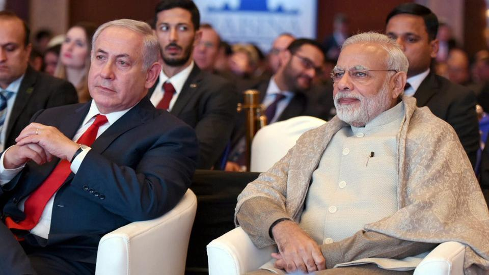 Prime Minister Narendra Modi with his Israeli counterpart Benjamin Netanyahu at the Raisina Dialogue in New Delhi on Tuesday.