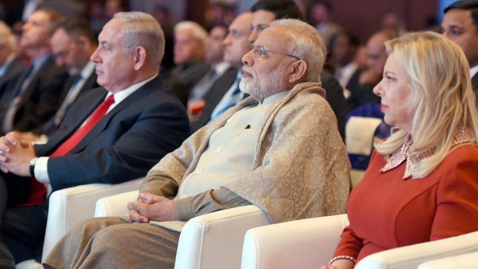 Prime Minister Narendra Modi with his Israeli counterpart Benjamin Netanyahu and his wife at the Raisina Dialogue in New Delhi on Tuesday.