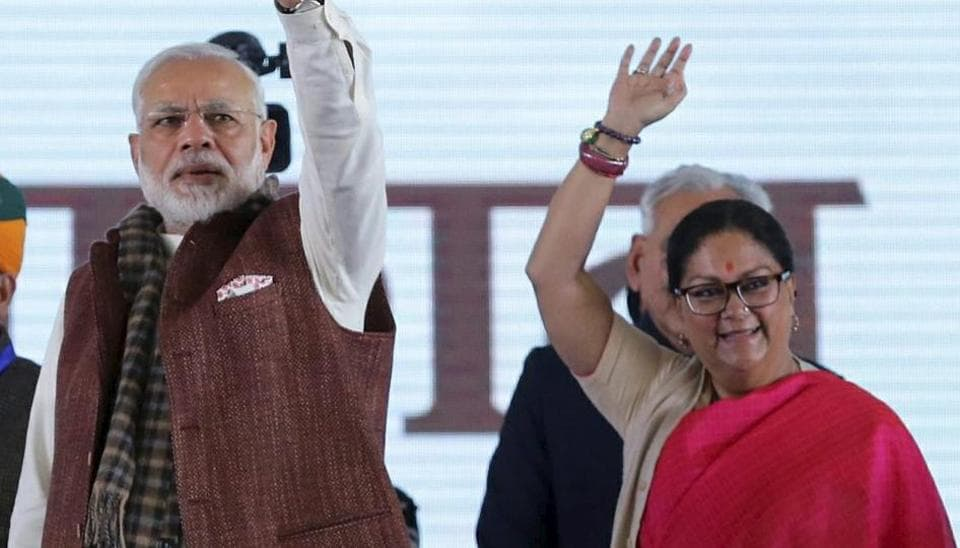 Prime Minister Narendra Modi and Rajasthan Chief Minister Vasundhara Raje at the 'work commencement' function of barmer refinery in Barmer on Tuesday.