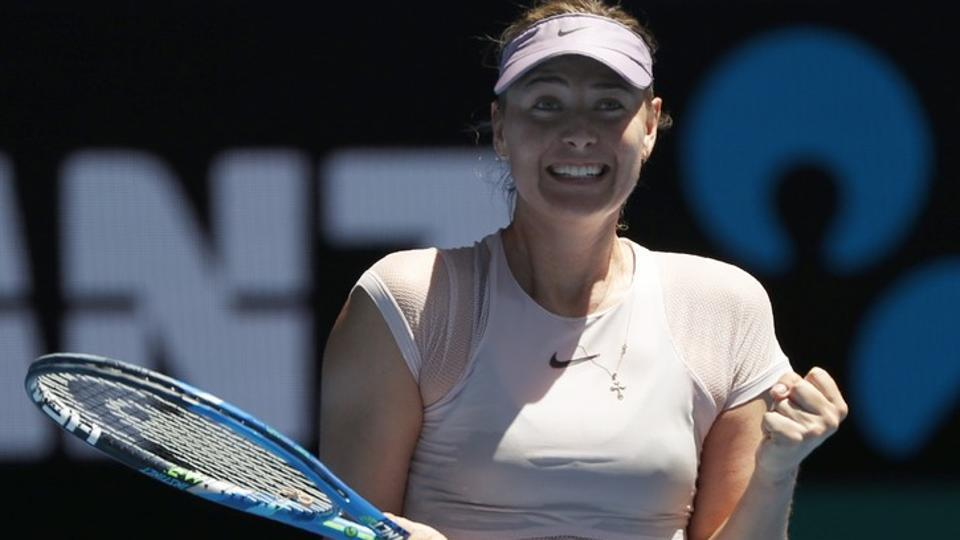 Maria Sharapova celebrates after beating Tatjana Maria in the first round of the Australian Open tennis championship in Melbourne on Tuesday.