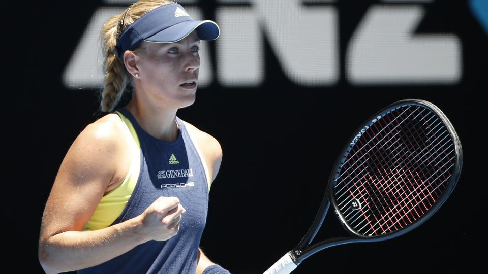 Angelique Kerber celebrates winning against Anna-Lena Friedsam at the Australian Open.