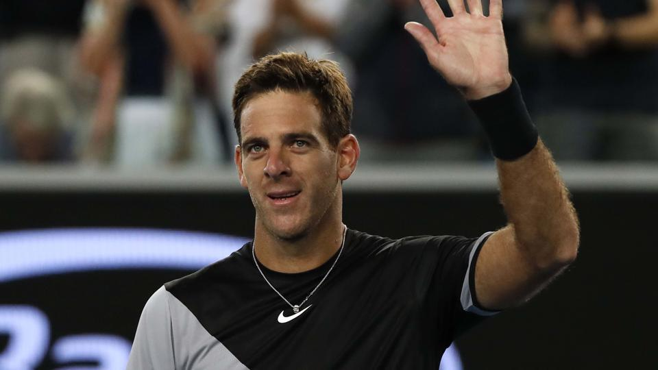 Argentina's Juan Martin del Potro celebrates winning his match against Frances Tiafoe of the US. (REUTERS)