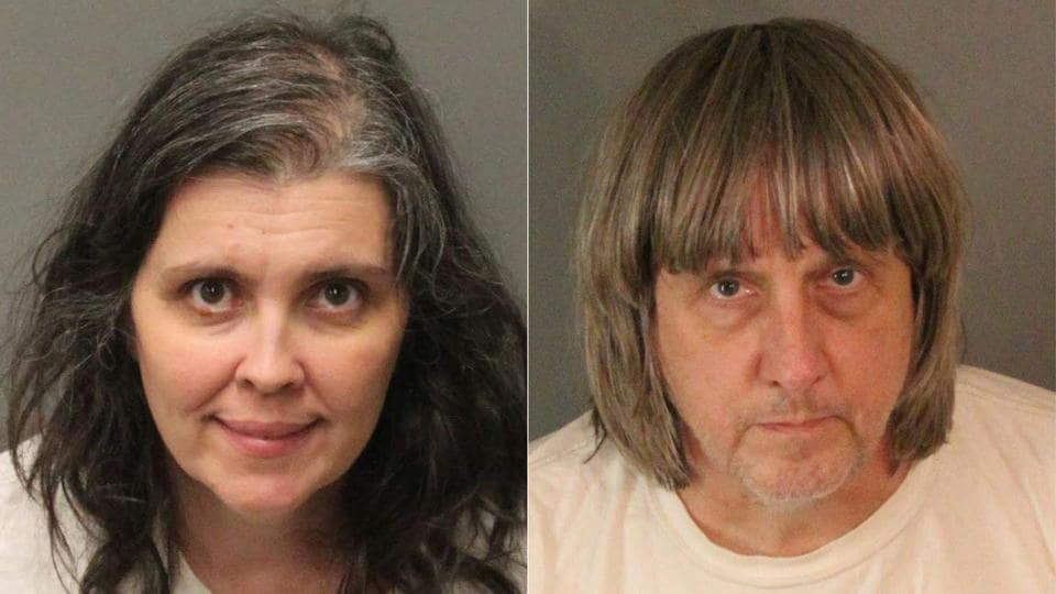 TOPSHOT - (COMBO) This combination of pictures created on January 15, 2018, shows booking photos from the Riverside County Sheriff's Department of David Allen Turpin (R), 57, and Louise Anna Turpin, 49.