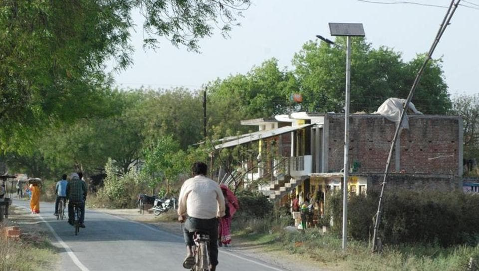 A solar streetlight without battery in Jayapur. The streetlights were installed in the first half of 2015 after Prime Minister Narendra Modi adopted the village.