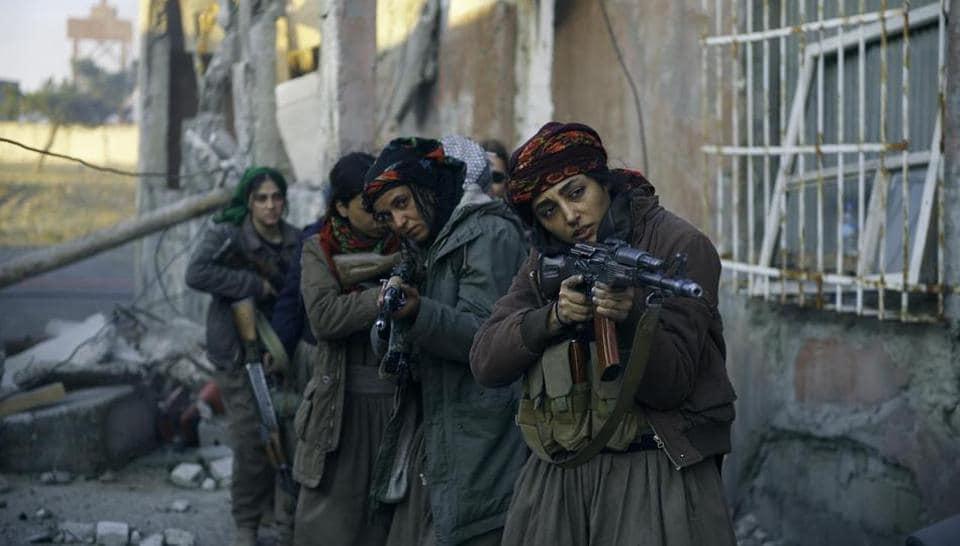 Golshifteh Farahani in a scene from the film on Kurdish female fighters.