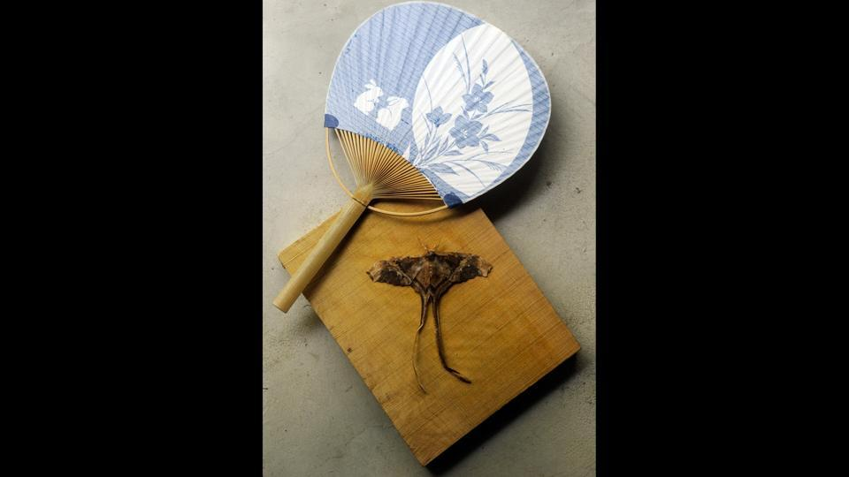 An uchiwa (hand fan) and a moth made from brunt paper by a Japanese artist is placed to recreate a traditional Japanese environment. Keeping insects as pets is quite common in Japan and this one in particular will be 'caged' in a wooden cubic structure made with sticks and displayed on the tokonoma. (Samir Jana / HT Photo)