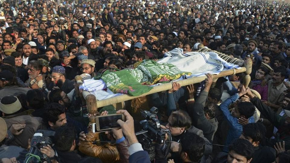 People attend the funeral of the minor girl who was raped and killed in Kasur, Pakistan.