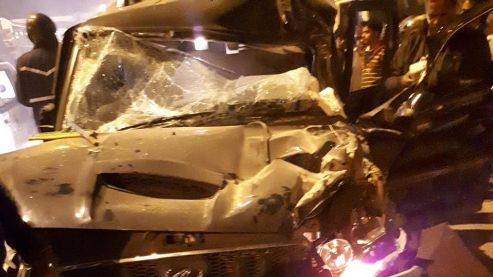 Eyewitnesses told police that the driver of the Scorpio (above) lost control, hit the truck and jumped the divider around 10.30pm.
