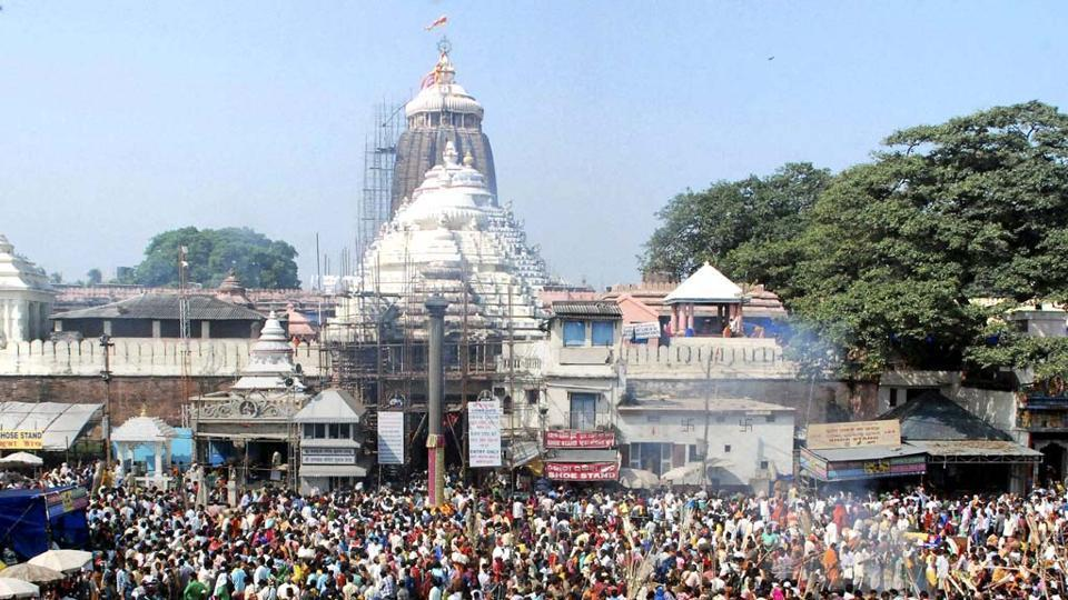 Devotees gather at the Lord Jagannath temple in Puri on Diwali.
