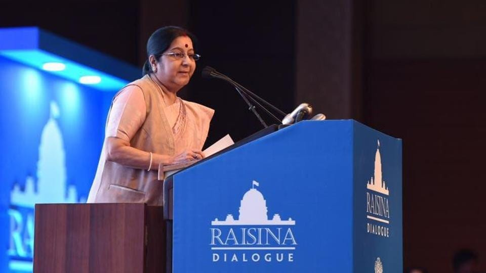 Minister of external affairs Sushma Swaraj speaking at the Raisina Dialogue in New Delhi on Wednesday.