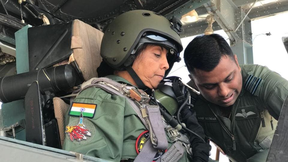 Defence minister Nirmala Sitharaman in the cockpit of the Sukhoi-30 MKI, familiarising herself with the fighter aircraft, before taking off for a sortie