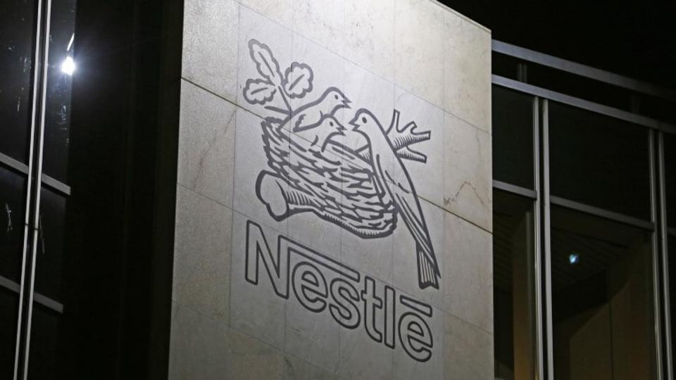 The Nestle logo is pictured on the company headquarters building in Vevey, Switzerland.
