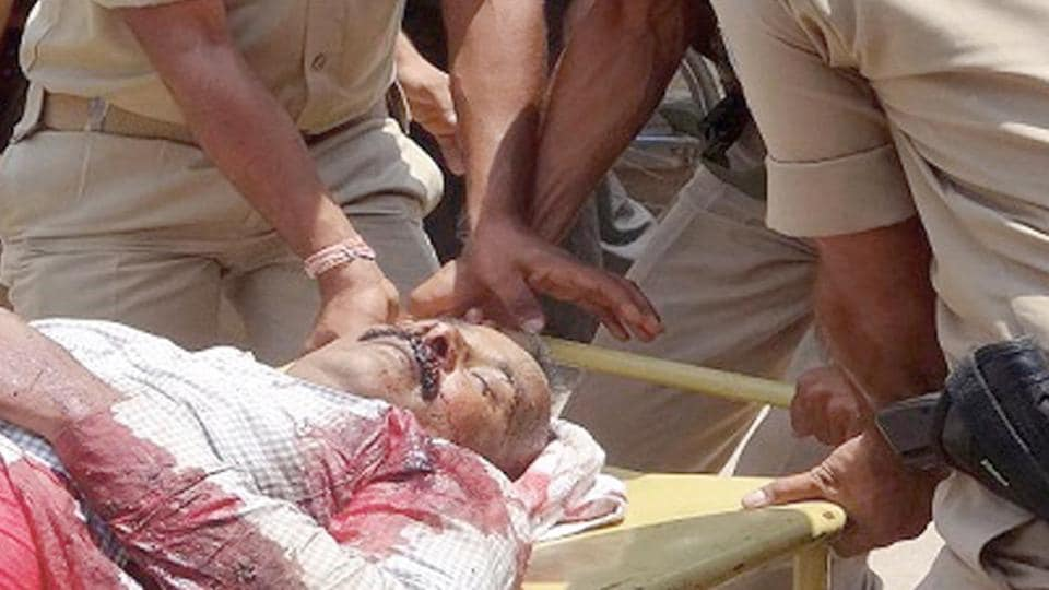 An injured man being taken to the hospital after the firing incident in Churu on Wednesday.