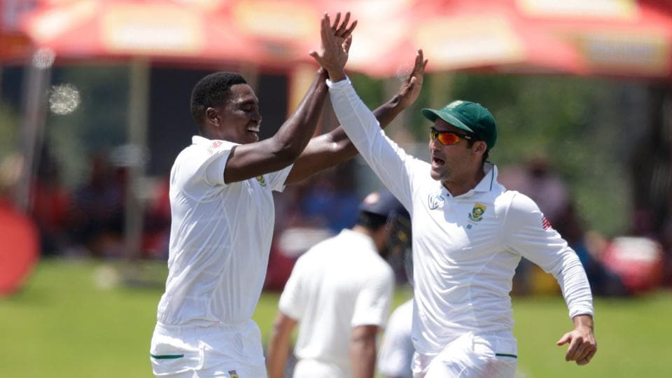 South African pacer Lungi Ngidi (L) celebrates the dismissal of Indian batsman Hardik Pandya (not pictured) during the fifth day of the second Test match between South Africa and India at SuperSport Park in Centurion on Wednesday.