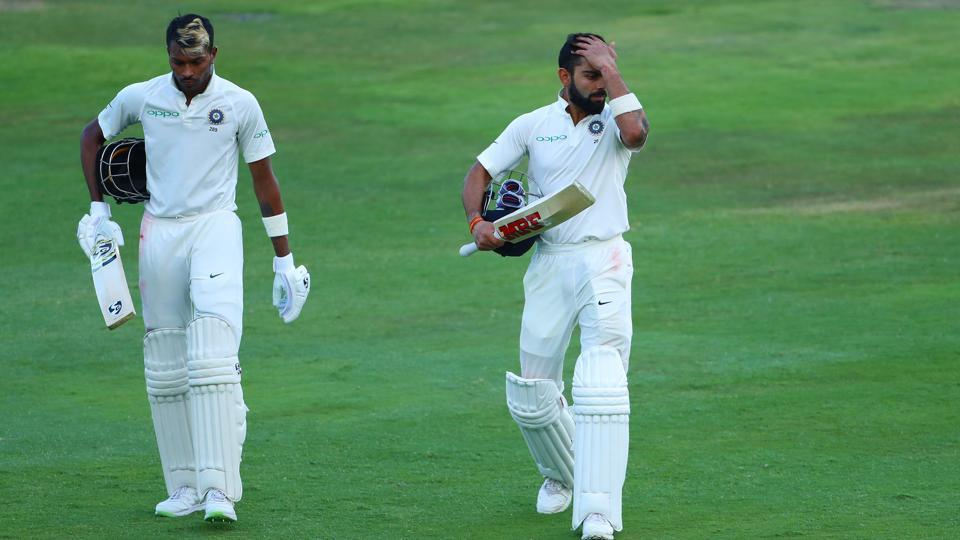 Hardik Pandya of India and Virat Kohli (captain) of India leave the field at the end of play during the second day of the second Sunfoil Test match between South Africa and India held at the Supersport park Cricket Ground in Centurion, South Africa on the 14th January 2018 Photo by: Ron Gaunt / BCCI / SPORTZPICS