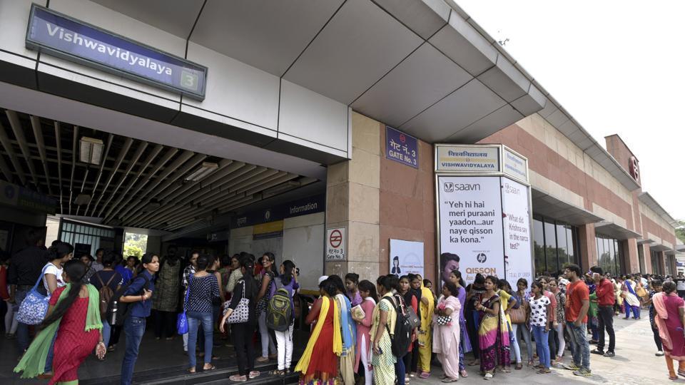 Metro fare hike,Occupy Vishwavidyalaya Metro Station,Vishwavidyalaya Metro