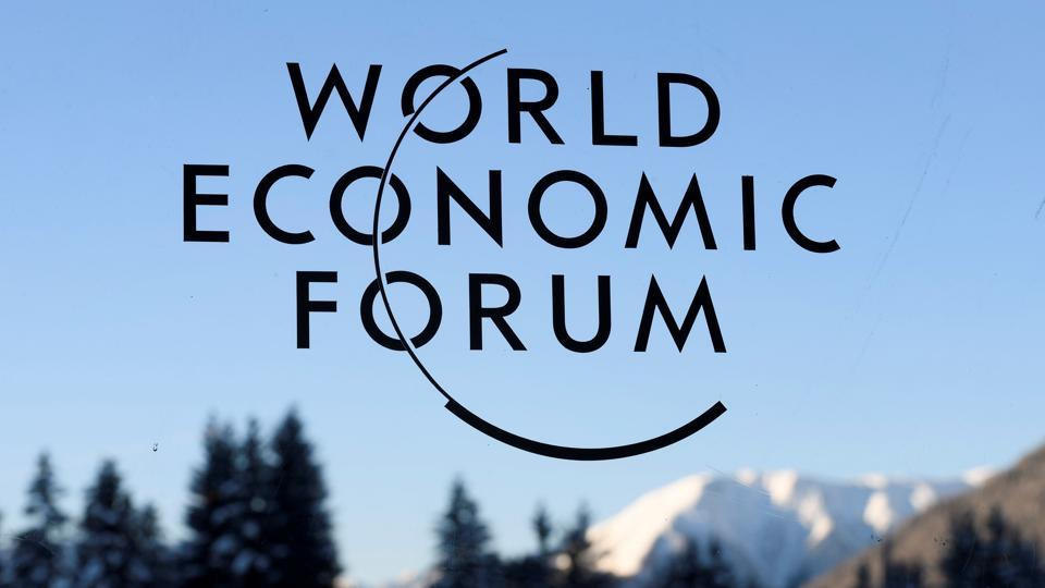The logo of the World Economic Forum on the third day of the Forum's annual meeting in Davos on January 19, 2017.