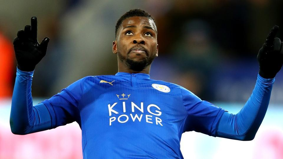Kelechi Iheanacho of Leicester City celebrates after scores their first goal during the FA Cup third round replay match against Fleetwood Town at The King Power Stadium on Tuesday. It was the first ever Video Assistant Referee (VAR) goal inEngland.