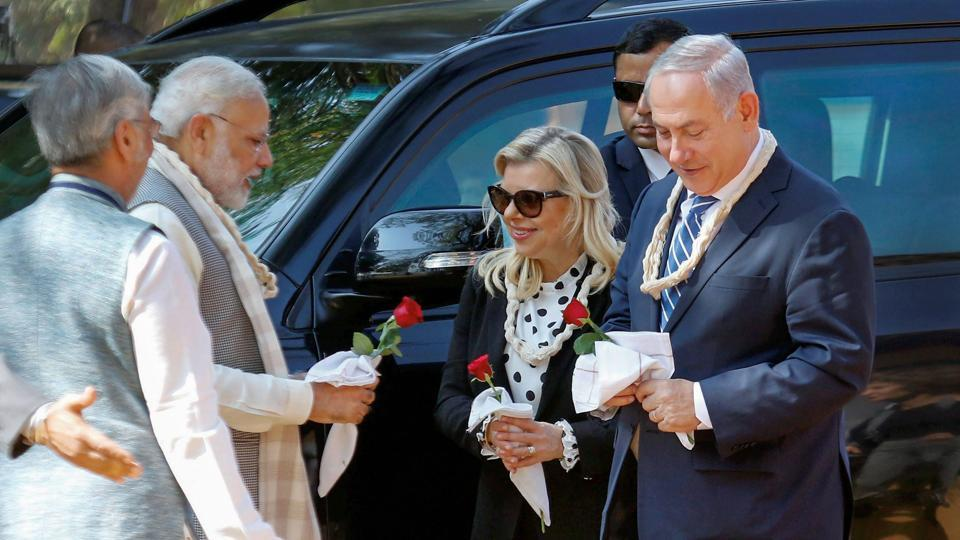 Prime Minister Modi, Israeli Prime Minister Benjamin Netanyahu and his wife Sara Netanyahu arrive at Sabarmati Ashram. The Israeli PM is on a six-day visit to India and scheduled for Mumbai later. (PTI)